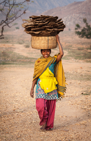 The rural girl bears on the head a basket with the natural fuel made of cow excrement and straw. It is the cheapest and widespread type of fuel for heating and cooking, in northern states of Republic of India. On January 30, 2014, Bihar.