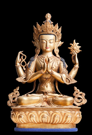 tantra: The gilded four-armed form of Avalokiteshvara made of metal. Executed in the Tibetan tradition.