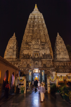Main entrance in Mahabodhi Temple, to a diamond throne, place where Buddha Shakyamuni has reached an enlightenment. India, State of Bihar, Bodh Gaya, on January 30, 2014