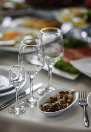 Type of the served dining table at restaurant of the celebration prepared for the beginning. In the foreground a dish with marinated mushrooms and onions, a glass and a glass for wine, other serving blurring in bokeh.