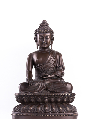Buddhas figure, brown color made of metal in a meditation pose with the hands located in mudra of donations.