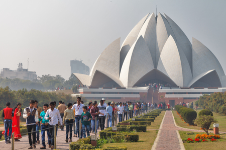 The big crowd of people going from the big and most known Bahai temple of the White Lotus. India, New Delhi, on January 19, 2018 Editorial
