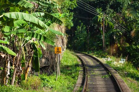 Travel piece - the small empty part of old railway to Kandy, in hot summer day. Sri Lanka. 写真素材