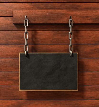 Chalkboard on brown wood background photo