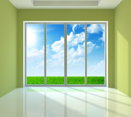 Large window with view to sunny day