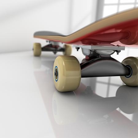 Skateboard op witte kamer met glanzende vloer