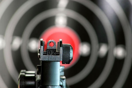 gun shell: Aim sight of a gun pointing to the center of the target