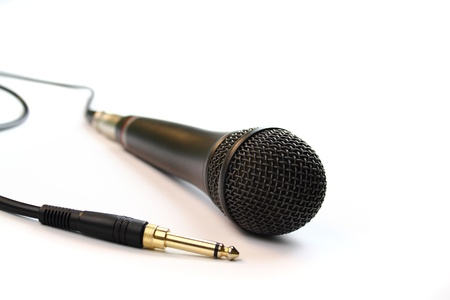 Microphone and jack on white photo