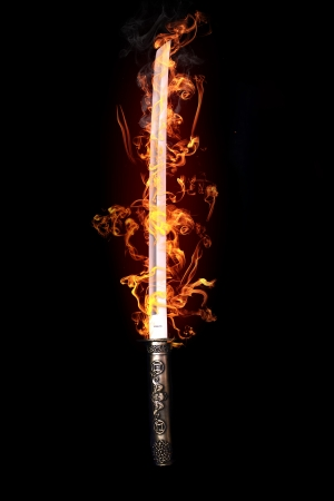 samurai: Japanese sword in flames
