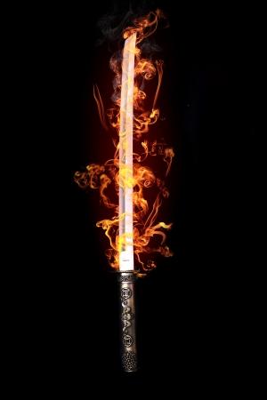 Japanse zwaard in vlammen Stockfoto - 20227922