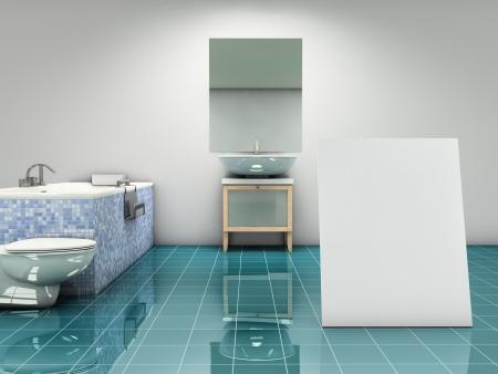 shiny floor: Modern bathroom with blank card standing on the floor