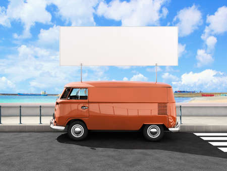 Beach van with blank placard photo