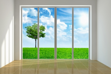 large house: Large window with view to a beautiful landscape Stock Photo