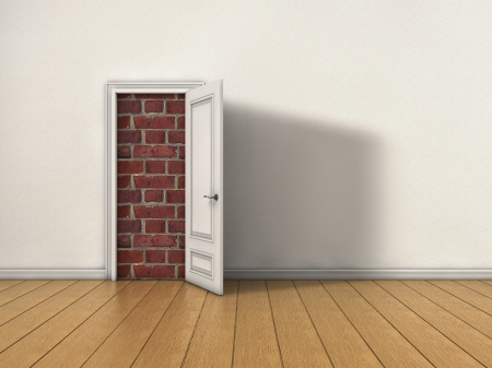 Room with opened door blocked by brick wall photo
