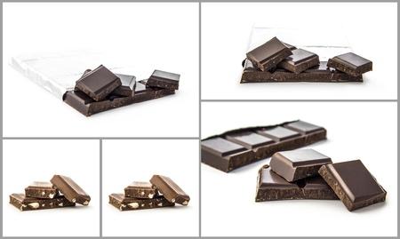 Set van verschillende chocolade composities op witte achtergrond Stockfoto