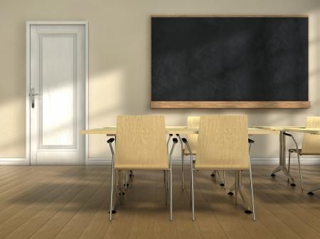 Classroom with desks and blackboard Imagens
