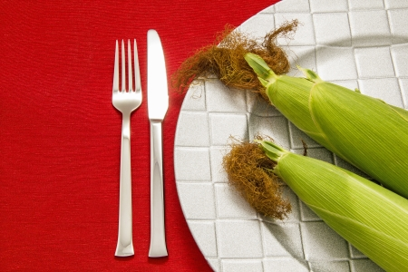 Silver Fork and knife on red table cloth and two cob on dish photo