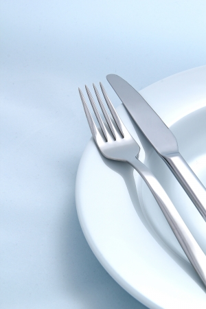 Silver Fork and knife on a dish photo