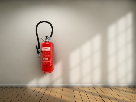 emergency light: Extinguisher fixed on white wall