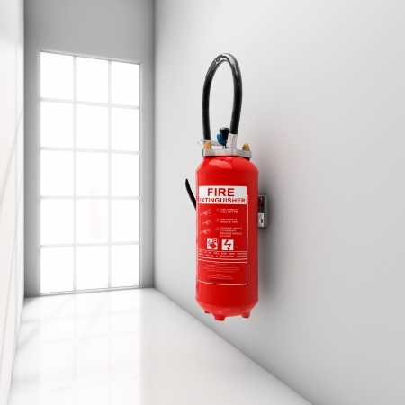 fire hydrant: Extinguisher fixed on white corridor wall