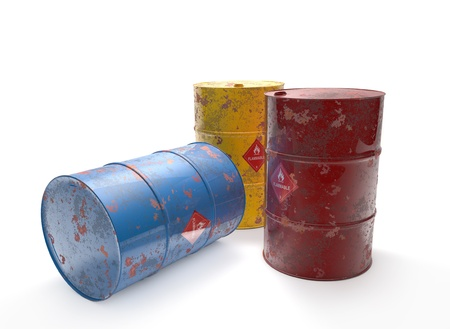 high price of oil: Three old barrels on white background