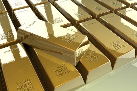 precious metal: Pile of shiny gold bars
