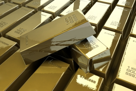 lingotes de oro: Pila de barras de oro brillantes Foto de archivo