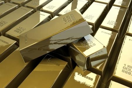 Pile of shiny gold bars photo