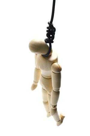 deadman: Wooden manikin hanged up on a wire