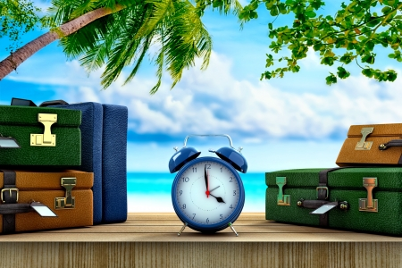 window case: Three suitcases and a clock on a paradisical location
