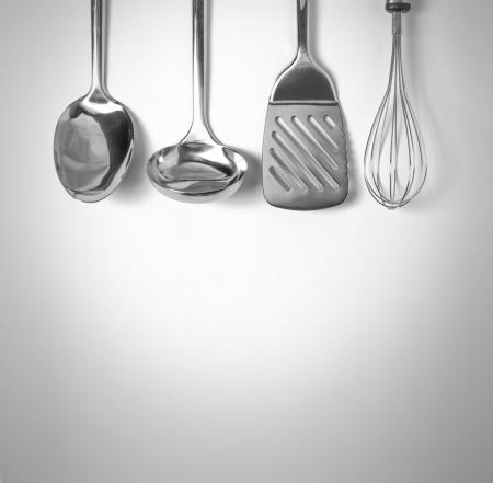 kitchen tools: Keukengereedschap achtergrond Stockfoto