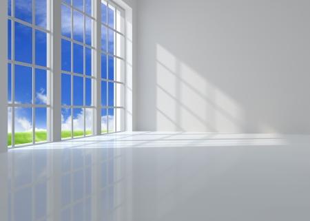 Amplio salón ventana iluminada por la luz del sol Foto de archivo