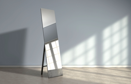 Window reflectie op een spiegel