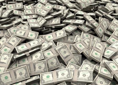 stack of dollar bill: Pile of packs of dollar bills