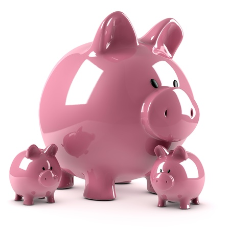 Piggy bank and its fruits photo