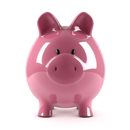 Piggy bank on white photo