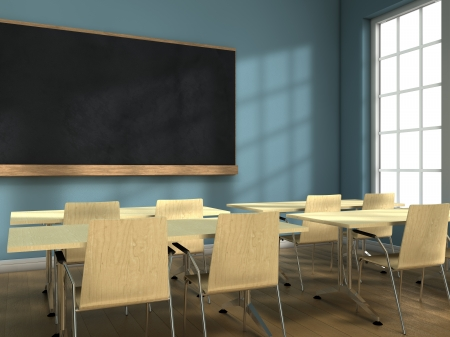 school exam: Blackboard and school desks background