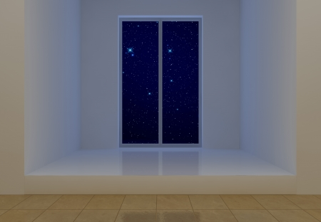 White room at starry night photo