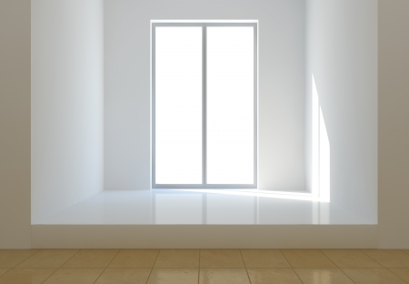 Bright light from he sun illuminates a white room photo