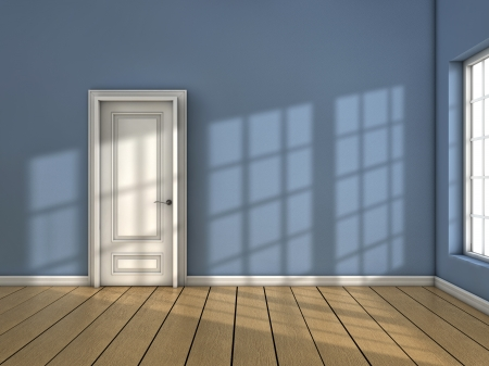 door opening: Room with closed door and sun light coming from the window Stock Photo