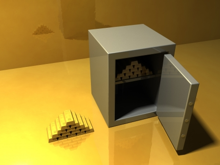 bank vault: Pile of gold bars and a safe on glossy golden surface