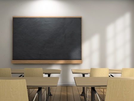 class room: Blackboard and school desks background