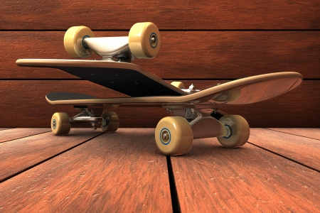 Skateboard composition on wood background photo
