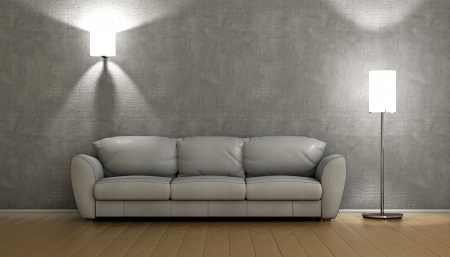 light source: Sofa on a room with two light source Stock Photo