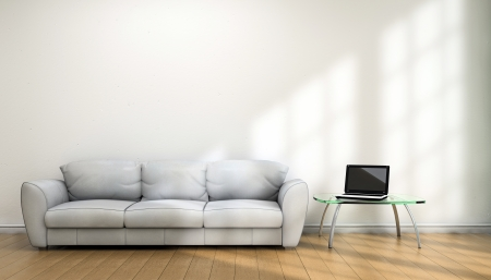 respectable: Notebook and sofa