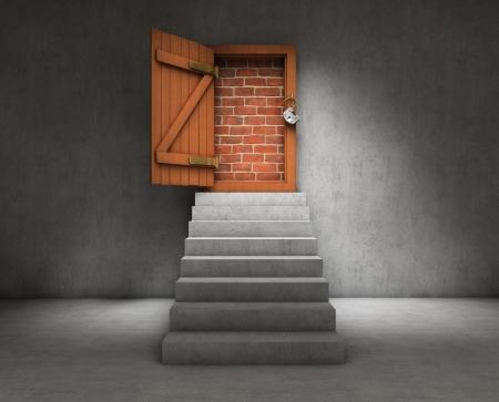 stone steps: Blocked door