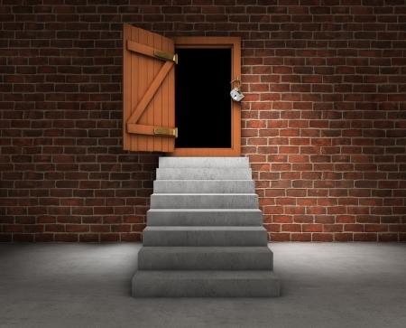 open doorway: Stairs with opened door Stock Photo