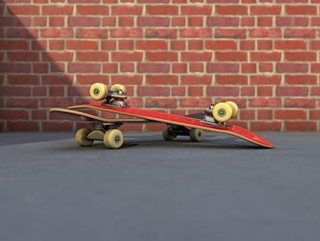 skate board: Skateboard composition on a street Stock Photo
