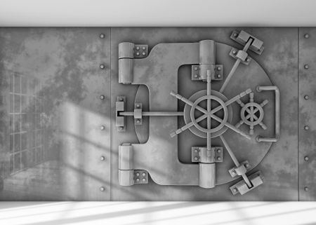 bank interior: Vault background Stock Photo