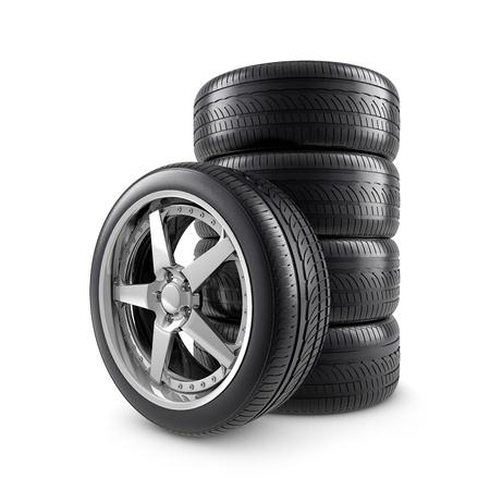 pneumatic tyres: Wheels on white